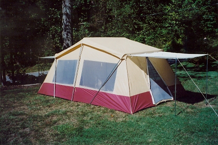 Deluxe 3-Room Cabin Tent 10' X16'Full Fly 2 Doors